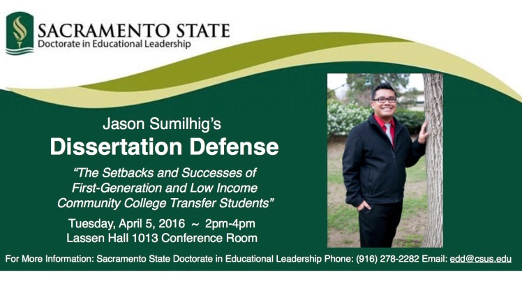 Updated Version of Jason Sumi's Dissertation Defense Annoucement