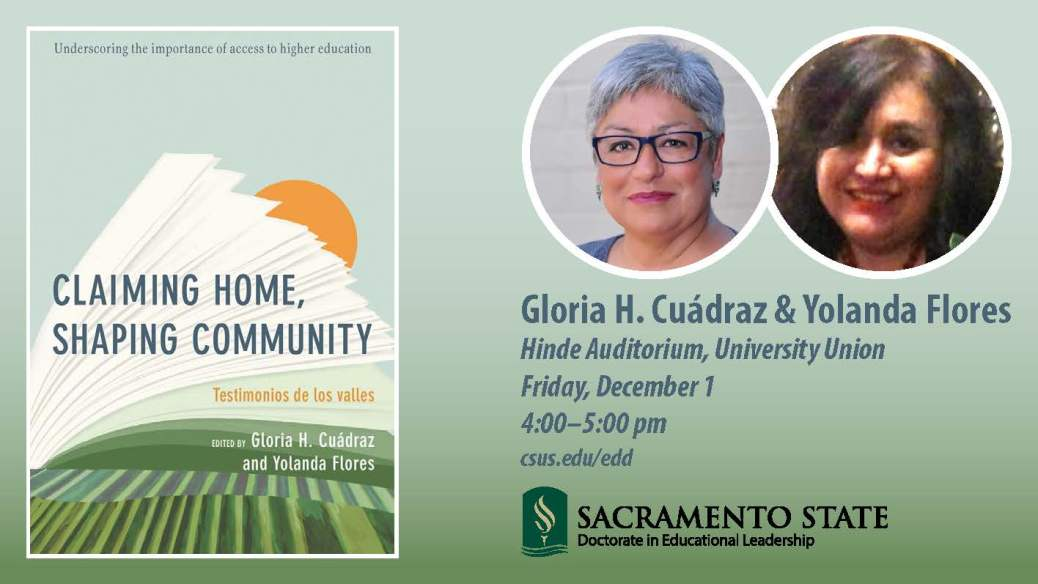 Gloria H. Cuádraz and Yolanda Flores at Sac State Dec. 1, 2017
